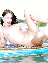 Totally naked Jesica posing off her luscious body at the pool after a hectic pictorial