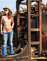 Devon, topless at a wood mill, looking stunning as always.